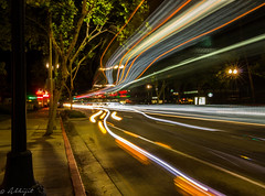 Los Angeles City Bus Lights ($ Abhijit $) Tags: road longexposure motion bus night canon lights la los movement blurry traffic angeles tokina trail arcadia lighttrail flickrunitedaward abhijitjadhav