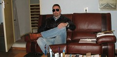 Saturday night (MarkXYVL) Tags: blue man sunglasses leather goatee cowboy boots pierre energie saturday jeans exotic jacket porsche western stiefel cardin sendra