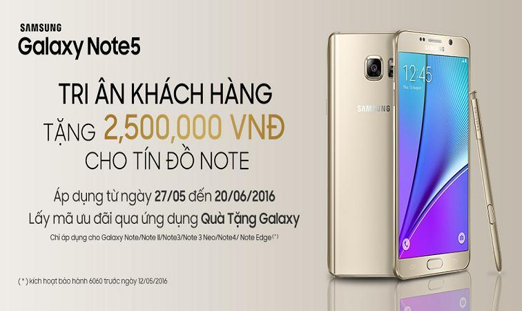 Ưu đãi khi mua Samsung Galaxy Note5 dành riêng cho khách hàng thân thiết của Samsung