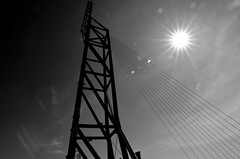 steel and sky (Fearghl Nessbank) Tags: sky bw sun monochrome lines design blackwhite nikon steel tokina blackwhitephotos d5100