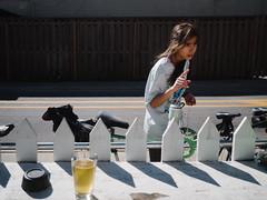 Oak St (BurlapZack) Tags: street portrait beer bicycle bar fence easter backyard cyclist bokeh candid stranger sidewalk conversation bikeride gesture whitepicketfence easteregghunt pack01 dentontx itellyouwhat vscofilm osdhcp oakstreetdrafthousecocktailparlor olympusmzuiko17mmf18 olympusomdem5markii