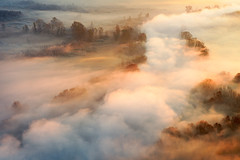 [misty river] (Ennio Pozzetti) Tags: november autumn light italy sun mist water colors fog clouds river nikon adda d810 airuno
