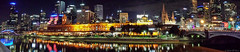 Flinders Street station at night from Southbank (Ralph Green) Tags: panorama night australia federationsquare victoria waterreflections yarrariver princesbridge lmelbourne lr66 samsungs4 flinderrsstreetstation topazdenoisev6
