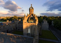 The Crown Tower, King's College Chapel, Old Aberdeen (iancowe) Tags: sunset tower college clouds scotland sandstone university scottish aerial medieval kings crown kingscollege universityofaberdeen drone oldaberdeen