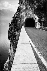 Italian Tunnel, Italy (CvK Photography) Tags: autumn bw italy holiday fall monochrome canon landscape europe tunnel it roads lombardia itali lakegarda tremosine cvk monochroom