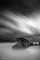 Night Experiment (renatonovi1) Tags: night experiment ocean sea turimeta beach sydney nsw australia clouds stars seascape landscape bw blackandwhite