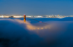 Breaking the Fog with a Bridge (UnsignedZero) Tags: bluehour california goldengatebridge marinheadlands out outdoor outdoors outside outsides sanfranciscobay time