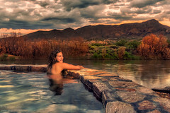 Riverbend Hot Springs (inlightful) Tags: springs hotsprings pool soak relax happy vacay vacation southwest mountain water reflections river riogrande truthorconsequences riverbend newmexico evening dusk