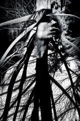 [gegendem Du dachtest. nichtsdestodessen Du annahmst. widerseits von all dem unwollentlich berrollt] (diefraunamenshorst) Tags: dark emotion blackandwhite portrait shadow light wood monochrome trees woman self