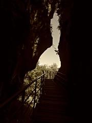 Gorges du Fier (AmyEAnderson) Tags: bw gorge cliffs shadow france europe rhonealps spring sepia footbridge railing