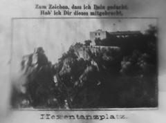 Winziges Bildchen aus dem Bleistft des vorigem Bildes, es zeigt   das Berghotel Hexentanzplatz bei Thale, (altpapiersammler) Tags: vintage old alt pencil reiseandenken fotografie photographie bleistift spruch vers mittbringsel