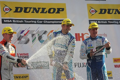 Colin Turkington, Gordon Shedden and Jason Plato on the podium during the BTCC Brands Hatch Finale Weekend October 2016