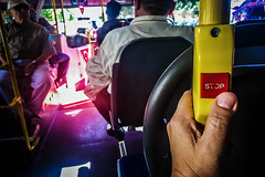 Getting off this ride (Melissa Maples) Tags: antalya turkey trkiye asia  apple iphone iphone6 cameraphone me melissa maples selfportrait woman thumb hand stop text button publictransport bus