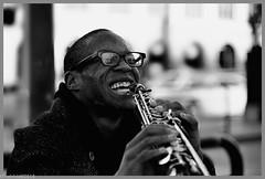 """Music Man"" (""SnapDecisions"" photography) Tags: sanfrancisco california street ferry music sax soprano bw nikon d800 hirschfeld"