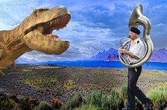 Never Play a Tuba to A DInosaur (Rusty Russ) Tags: tuba dinosaur mother colorful day streetart digital graffiti europe mer lago window flickr country landschaft mare analog bright happy la paysage colour eos scenic america cielo market hill world sunset beach water sky flower red nature blue night white tree green art light sun cloud park landscape summer city yellow people pink house old new photoshop google bing yahoo stumbleupon getty national geographic magazine creative composite manipulation hue pinterest blog twitter comons