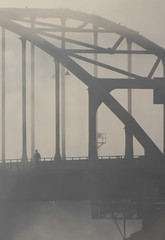 A walk (Arda Aras) Tags: morning bridge sunset summer orange sun mist holland netherlands silhouette sepia sunrise spring wilhelminabrug nederland brug lente deventer overijssel mistig the wilhelmina 2015 arda aras ardaaras