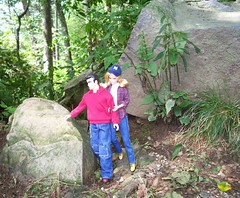 Cai and Barbie on the trail (larry_boy17) Tags: trip autumn vacation cute hat leaves shirt outside outdoors sweater couple rocks doll dolls boots hiking getaway tennessee navy ken barbie hats jeans boulders trail plaid overlook smokies mortons