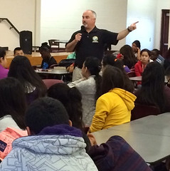 Rep. Matt Hudson speaking to LaBelle Middle School students about the importance of civic participation