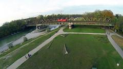 Luftaufnahme Gterzug (max schrader photografie) Tags: park zug phantom ufer brcke fluss isar wege vogelperspektive luftaufnahme gter kies dji gopro