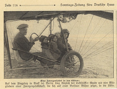 Hans Grade prepares for a flight with four dwarfs in his monoplane design [Germany, 1909] (Kees Kort Collection) Tags: germany grade passengers 1909 monoplane eindecker