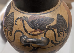 Etruscan Black Figure globular cup representing a bird-of-prey with a snake, by the Tityos Painter, from Vulci (diffendale) Tags: italy rome ceramica roma vertical horizontal museum italian ceramics italia eagle display snake vessel exhibit muse pots clay vase pottery museo serpent vulture artifact archaeological lotta etruscan mzesi serpente archeologico arkeoloji titios blackfigure vulci etrusco kyathos vasellame trusque  etruskisch palmette volci  etruscus 6thcbce  velch  twohandled 510sbce etruscanblackfigure museonazionaleetruscodivillagiulia pleiades:findspot=413393 tuscus late6thcbce velx  etrskler lastquarter6thcbce 2ndhalf6thcbce 4thquarter6thcbce  tityospainter ponticgroup attingitoio globularcup figurenereetrusche gruppopontico pittoretityos