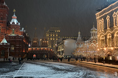 Festive Buildings in Red Square under Snowfall (Guide, driver and photographer in Moscow, Russia) Tags: winter snow gum russia moscow snowfall kazanskycathedral nightmoscow resurrectiongates moscowbynight moscowmagic magicofmoscow
