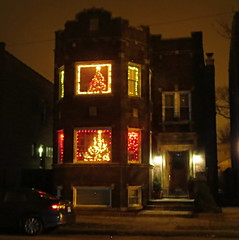 Two-flat Christmas (yooperann) Tags: christmas old winter decorations holiday chicago night dark northwest side neighborhood irving decor chicagoist