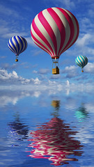 3d balloons in the blue sky and reflection in water (robin.maenhaut) Tags: travel blue red summer sky people cloud sun lake hot color reflection water beautiful sport balloons outdoors mirror flying moving colorful day pattern basket view image background air hotair extreme transport group balloon levitation objects adventure pump reflect helium transportation heat vehicle hotairballoon colored leisure midair traveling activity ballooning striped recreational russianfederation