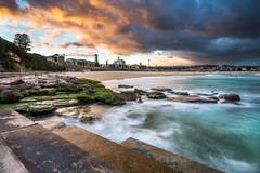 Bondi Beach sunset (PiotrHalka) Tags: ocean sunset sky bw sun colour water sand nikon surf sydney australia burning filter lee nsw slowshutter newsouthwales swirl nikkor bondibeach cpl 1635 d600 easternsuburbs