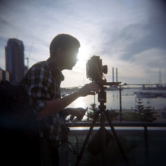 Marcouette (ziz) Tags: portrait colour 120 silhouette mediumformat holga melbourne rails docklands portra largeformat boltebridge holga120n c41 portra400 etihad melbournesilvermine