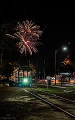 St. Charles Streetcar & Fireworks (enigmaarts) Tags: fireworks neworleans newyearseve streetcar mississippilevee enigmaartsphotography enigmaartscom newyearseve2015 carrolltonriverbend