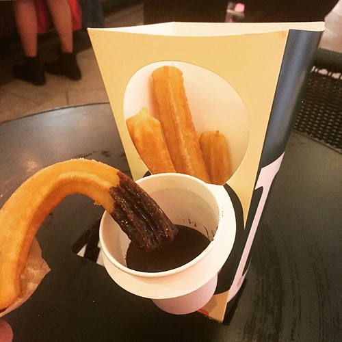 Hot, freshly cooked churros with hot Belgian chocolate from Churreria La Lola in Rockwell. I wish there was a touch of salt in the churros batter and the chocolate darker, thicker & less sweet.  I love the packaging and the hole in the table.