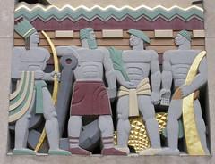 Rockefeller Center relief, 1930s (DeBeer) Tags: nyc newyorkcity sculpture newyork art statue 1930s manhattan rockefellercenter relief midtown artdeco allegory 20thcentury allegorical leelawrie architecturalsculpture 20thcenturyart leeoscarlawrie polychomed plolychromy