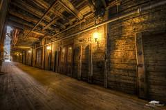 The passageway (huddart_martin) Tags: old norway buildings dark lights norge wooden bergen bryggen hdr passageway