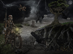 Wasteland (brian_stoddart) Tags: desert snake surreal crows desolate motorcyclist