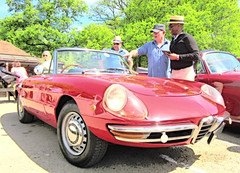 1969  Alfa  Romeo 1750 Spider .. (John(cardwellpix)) Tags: uk men corner spider sunday may hats surrey alfa romeo 1750 guildford 8th newlands albury 2016 1868 merrow