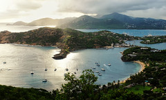 English Harbor - Antigua (SplitShire) Tags: ocean travel sunset sea vacation panorama english beach water landscape outdoors island bay coast harbor view scenic antigua tropical shirley coastline caribbean heights tranquil dockyard barbuda