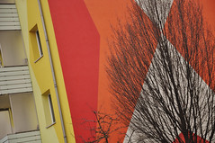 DSC_5444 [ps] - At the Going Down (Anyhoo) Tags: winter red urban orange white tree geometric window yellow wall architecture facade germany design mural pattern bright bare painted branches saxony leipzig flats domestic sachsen sunburst colourful angular twigs gdr faade habitation anyhoo gdrarchitecture kthekollwitzstrase photobyanyhoo