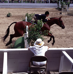 Jump (F. Neil S.) Tags: summer hat jumping arena transparency equestrian stands blowingrock contaxaria colorslidefilm
