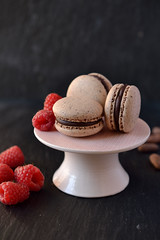 Cocoa flour macarons with raspberry & cocoa fruit jam (PralineParadise) Tags: raspberry cocoa macaron cocoafruit