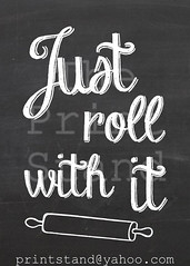 KI1003 - Just roll with it - chalkboard (printstand) Tags: house art home kitchen coffee wall dinner happy baking quote supper chalkboard decor rollingpin printstand