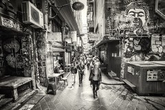 Centre Place (Bill Thoo) Tags: street city urban blackandwhite monochrome graffiti sony australia melbourne victoria lane centreplace 14mm samyang a7rii