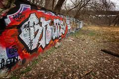 Layers (CJ Schmit) Tags: wwwcjschmitcom 5dmarkiii canon canon5dmarkiii cjschmit cjschmitphotography canonef1740mmf40lusm photographermilwaukee milwaukeephotographer photographerwisconsin milwaukee mke wisconsin gorgonpark milwaukeecountyparksystem graffiti paint wall stone spring trees leaves grass riverwest art expression colors on1 milwaukeegraffiti urban