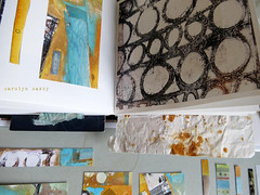 printing and collage samples - St. Ives sketchbook (Carolyn Saxby) Tags: orange brown black art yellow collage gold rust cornwall colours turquoise mixedmedia journal shapes sketchbook textures printing prints lichen samples stives textileartist rustdyeing carolynsaxby