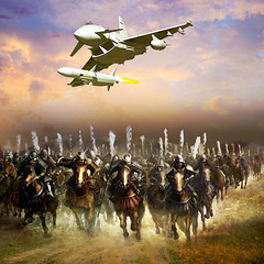 The war yesterday and today (jaci XIII) Tags: horses plane time armas guerra soldiers cavalos rocket avio tempo weapons wartime soldados foguete