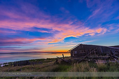 Sunset at Deadhorse Lake with Abandoned Farmstead #2 (Amazing Sky Photography) Tags: sunset lake abandoned twilight shed alberta prairie lowsun crescentmoon waxingmoon farmstead deadhorselake