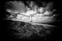 New Brighton (Missy Jussy) Tags: lighthouse newbrighton northwest england rocks seaweed water lowtide sand horizon shipyard sky clouds mono monochrome blackwhite bw sea seaside shoreline coast landscape lancashire tamron tamron1024mm