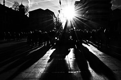 ....Whats in store for me in the direction I dont take....?  - quote by  Jack Kerouac (eggii) Tags: street dark light sun people bw stuttgart germany silhouette his