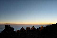High altitude Arrow Glacier Camp - Kilimanjaro National Park - Tanzania (PascalBo) Tags: nikon d300 tanzania tanzanie africa afrique eastafrica afriquedelest kilimanjaro kilimandjaro kilimanjaronationalpark parcnationaldukilimandjaro arrowglacier lemosho hike hiking trek trekking outdoor outdoors volcanic rock stone clouds nuages sky ciel tent bivouac camp campement sunset coucherdesoleil pascalboegli