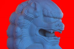 Blue Lion (josullivan.59) Tags: blue wallpaper 3exp red travel texture tamron150600 ontario outside artisitic shadow sculpture day detail lightanddark canon6d canada clear minimalism october 2016